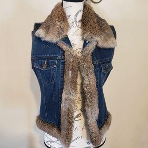 Lord &Taylor Rabbit Fur Trimmed Jean Vest